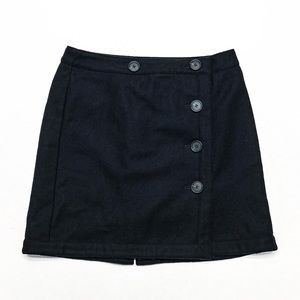 LOFT • NAVY WOOL BLEND WRAP MINI SKIRT W/ BUTTONS